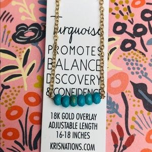 New Kris Nations Turquoise Bar Necklace